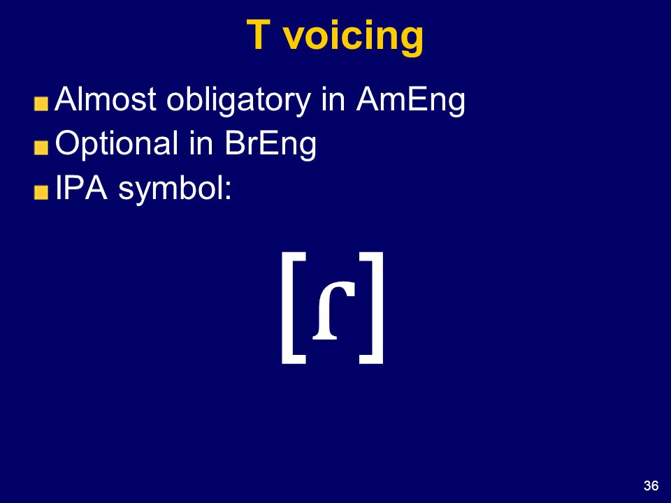 T voicing Almost obligatory in AmEng Optional in BrEng IPA symbol: [ɾ]